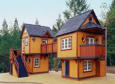 These incredible playhouses boast whimsical features such as turrets…