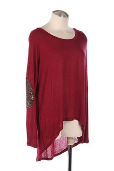 Burgundy Top w/ Sequin Elbow Patches