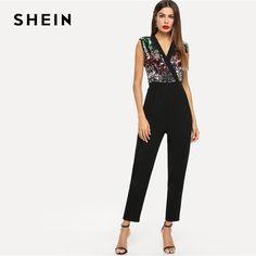 d9f1376a891 SHEIN Black Surplice Neck Sequin Beaded Shell Sleeveless Jumpsuit 2019  Women V Neck Mid Waist Highstreet