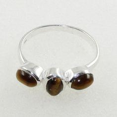 Tiger Eye Stone Unique Design 925 Sterling Silver Ring by JaipurSilverIndia on Etsy