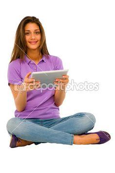 Teenage girl using ipad — Stock Photo #12037830