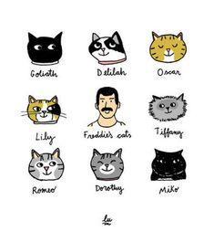 Cats Wall Print Art Freddie Mercury Poster Cat Lovers Poster Funny Cats Art Queen Illustration in 2020 Freedy Mercury, Queen Meme, Son Chat, Queen Aesthetic, Queen Art, Matou, We Will Rock You, Rami Malek, Queen Freddie Mercury