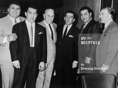 From left. Eddie Pucci, Ronnie Kray (1933 - 1995), George Raft (1895 - 1980), Reggie Kray (1933 - 2000), Rocky Marciano (1923 - 1969), Charlie Kray(1926 - 2000) (Photo by Evening Standard/Hulton Archive/Getty Images).