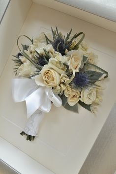 Hand tied bouquet #creamroses#thistles #preserved and framed