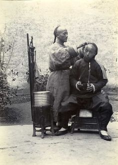 CHINA . CHINE . PETITS METIERS . Barbier . BARBER - photo circa 1890