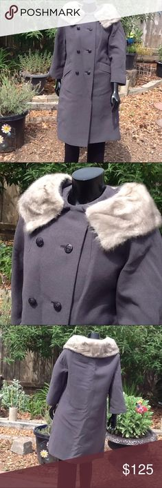Vintage Charles Talbot Coat Gray with fur collar Charles talbot . Vintage coat . Gray . Fur collar. No tag with size fits like  medium large . Jackets & Coats Trench Coats