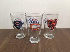 Set of 3 Chicago Bear Glasses by VintageByJoe on Etsy