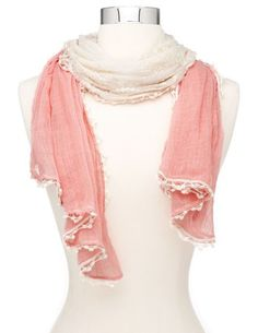 Crochet Trim Lace Inset Scarf: Charlotte Russe