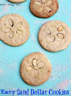 Easy Sand Dollar Cookies.  These cookies are made easily with refrigerated sugar cookies.  They are great for any beach or sea themed party.  #sanddollar #cookie #beach