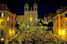 bottle of wine and The Spanish Steps in Rome at night, you can't go wrong