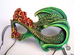 Green Fire Dragon Mask by LisaSell on Etsy, $90.00