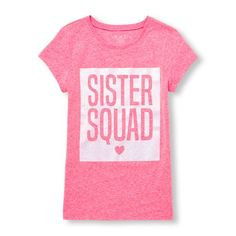 Place Shops Short Sleeve Glitter 'Sister Squad' Neon Graphic Tee - Pink T-Shirt - The Children's Place