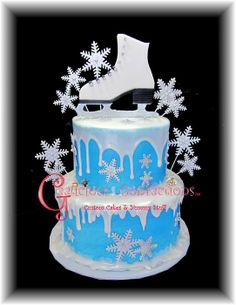 This cake was for a 10 year old girl who's having an ice skating party for her birthday. The decorations are all fondant with tylose, the melting snow effect is melted fondant (slightly cooled) and drizzled from a paper piping back. (easier to. Novelty Birthday Cakes, Themed Birthday Cakes, Birthday Cake Girls, Novelty Cakes, Themed Cakes, 10th Birthday, Frozen Birthday, Ice Skating Cake, Ice Skating Party