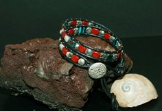 Double Leather Wrapped Bracelet with Square  by DESIGNBYSTARLA, $35.00