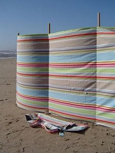 This site shows different sizes of windbreaks. 4 metres is a good size with 5 poles to support it. windbreaks Beach bags   Beach towels   Windbreak   Beach chairs   Beach parasols   Beach Tents   Beach Toys   Deckchairs - The Seaside Company