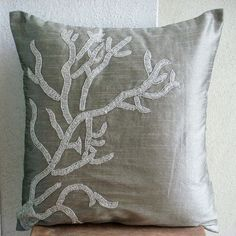 Coral Adornment - Throw Pillow Covers - 20x20 Inches Silk Pillow Cover With Silver Coral beads
