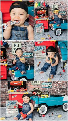Mechanic Theme First Birthday Party Boys 1st Birthday Party Ideas, 1st Birthday Photoshoot, 1st Birthday Pictures, Cars Birthday Parties, Baby Birthday, Birthday Gifts, Baby Mechanic, Fotos Baby Shower