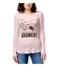 Peanuts Womens Brunch! Thermal Sweater softpink M, Women's, Size: Medium, Pink
