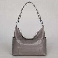 Handbag Jolie large grey---Adeleshop handmade Leather bag Messenger Diaper bag Shoulder bag Tote Handbag Hip bag Women. $165, via Etsy.