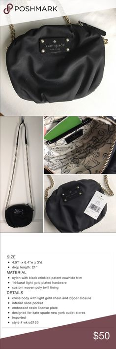 Kate Spade Greta Nylon Purse Used Greta nylon purse. Perfect for a night out! Scuffs/scratches on the tag due to normal wear (see pic), otherwise great condition. kate spade Bags Crossbody Bags