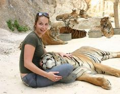 Thailand Traveling Pet The Tigers At Tiger Temple