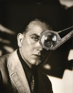 "Fritz Lang with the monocle he used while shooting || Metropolis""."