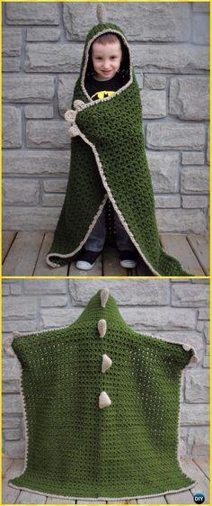 Repeat Crochet Me: Crochet Hooded Dinosaur Blanket Free Pattern