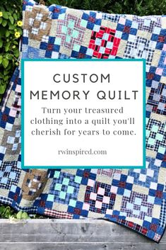 Memory Quilt: Deposit - RW Inspired I take great care in constructing a one of a kind piece that honors the treasured clothing you've Beginner Quilt Patterns, Quilting For Beginners, Quilting Tutorials, Quilting Projects, Quilting Patterns, Easy Quilts, Bed Quilts, Shirt Quilts, Plaid Quilt