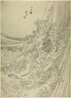 Katsushika Hokusai  (School of/style of Katsushika Hokusai)  Sketch. Study of a wave breaking.