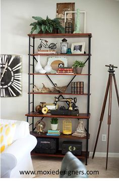 Interior Design: Industrial cottage chic with vintage and antique accessories. Cozy Cottage, Cottage Style, Ladder Bookcase, Bookshelves, Red Bricks, Weathered Wood, Interior Design Studio, Leather Sofa, Wood Furniture
