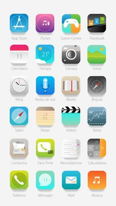 iOS 7 Icons // Re_thinking by Naxo Garcia, via Behance