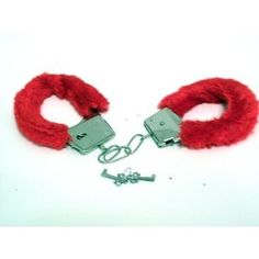 Fur handcuffs (red) #valentineday #gift #sexy #love         1 set of fur handcuffs      adjustable wrist size, has release switch incase of lost keys      metal      Novelty item