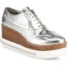 Miu Miu Women's Metallic Leather Platform Sneakers - Argento (2,100 GTQ) ❤ liked on Polyvore featuring shoes, sneakers, flats, apparel & accessories, argento, leather oxfords, oxford flats, leather lace up flats, platform sneakers and metallic flats