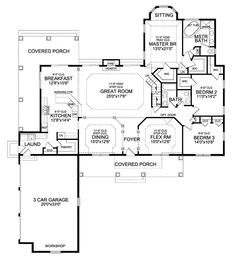 Floor Plans AFLFPW76441 - 1 Story Craftsman Home with 3 Bedrooms, 2 Bathrooms and 2,498 total Square Feet
