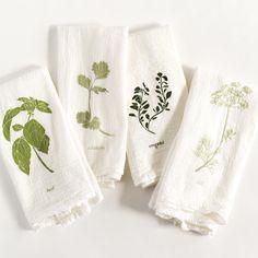 Garden Flavors Herb Napkin Set : Set of 4 Flour Sack Cotton Cloth Napkins - Assorted Herbs Cotton Napkins, Cloth Napkins, Napkins Set, Textile Prints, Textiles, Spring Photography, Felt Patterns, Memorable Gifts, Tea Towels