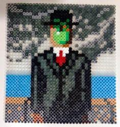 Magritte painting hama beads by Juan José Prieto