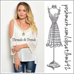 Open Shoulder Blouse Beautiful open shoulder woven V Neck blouse with crochet lace trim throughout. Color Ivory. Made of rayon. Size S, M, L Threads & Trends Tops Blouses