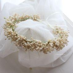 花かんむり*カスミソウ(アンティークホワイト) | 枠waku*wreath花冠 by MermaidRose~uchi-soto wreath #baby's breath #flower crown