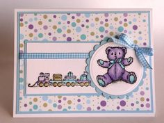 MOJO 119 Teddy & Train by BeckyTE - Cards and Paper Crafts at Splitcoaststampers