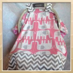 Car seat cover elephant cute baby girl chevron pink gray babygift shower