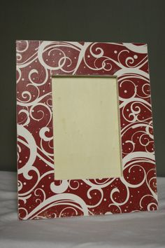 4x6 red and white holiday picture frame by TipToeDesign on Etsy, $15.00