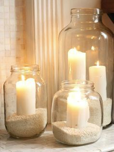Place these simple candle jars around your bathroom for a truly calming spa space .