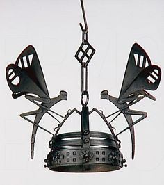 Alessandro Mazzucotelli, wrought iron hanging light with butterlies, between 1903 and 1906