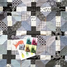 blocks from the X & Plus quilt pattern using greys (Reel Time fabrics and Modern Backgrounds)