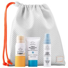 Shop Drunk Elephant's Skin Fit Kit $30  - 0.5 oz/ 15 mL Umbra Sheer Physical Defense SPF 30 - 0.27 oz/ 8 mL B Hydra Intensive Hydration Gel - 0.13 oz/ 3.7 g Lippe (full size) - Travel bag