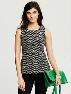 Heritage Embellished Jacquard Shell | Banana Republic