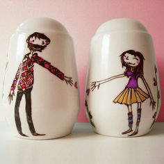 Personalised Salt and Pepper shakers with 1 pet by JoyNevada, $60.00