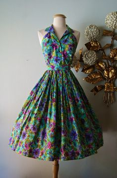 Vintage 1950s Floral Print Halter Dress and Skirt by xtabayvintage, $148.00