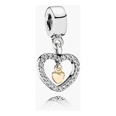 Women's PANDORA 'Forever in My Heart' Charm (82 CAD) ❤ liked on Polyvore featuring jewelry, pendants, golden jewelry, pandora jewelry, heart shaped charms, heart jewelry and pandora jewellery