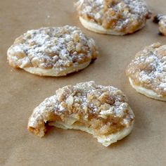 The Food Pusher: Dutch Apple Pie-lettes (Apple Pie Cookies). Please use homemade apple pie filling though! Apple Pie Cookie Recipe, Apple Pie Cookies, Cookie Pie, Cookies Et Biscuits, Yummy Cookies, Cookie Recipes, Dessert Recipes, Apple Pies, Apple Tarts